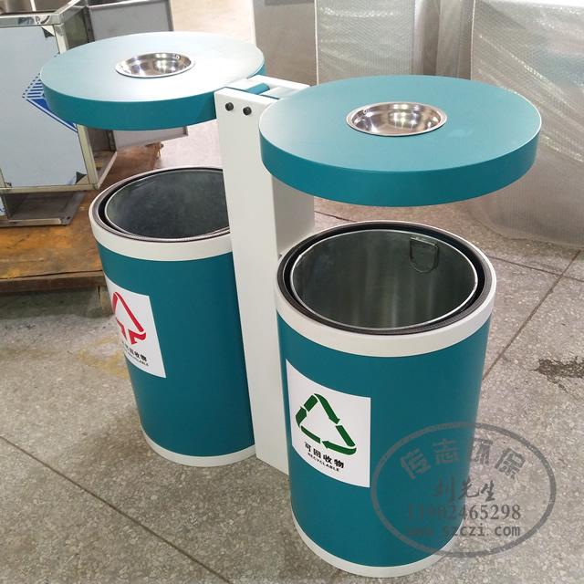 户外圆柱形环保分类不锈钢垃圾桶厂家